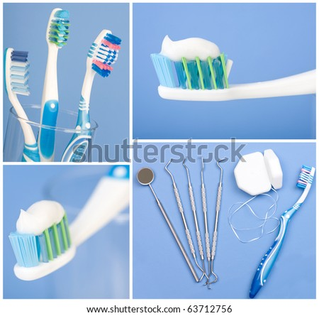 Dental tools, floss and toothbrush. Over blue  background - stock photo