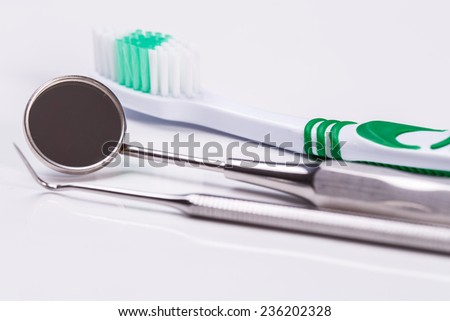 Dental. Toothbrush on a white background - stock photo