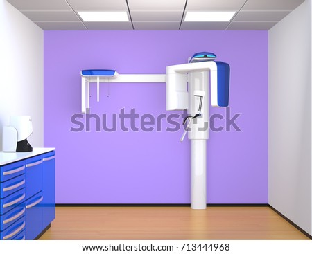 Dental X Ray Interior Design With Blue And Purple Color. 3D Rendering Image. Part 81