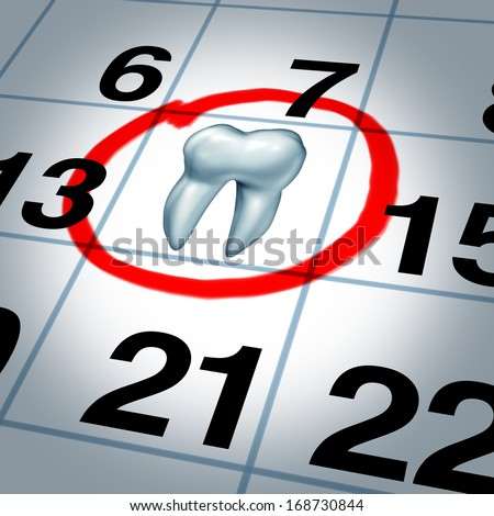 Dentist appointment and dental check up health care concept as a month calendar with a tooth circled and highlighted as a reminder metaphor for a dentist clinic visit time for scheduled oral care. - stock photo