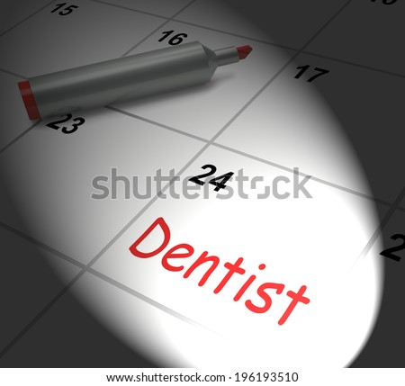 Dentist Calendar Displaying Oral Health And Dental Appointment - stock photo