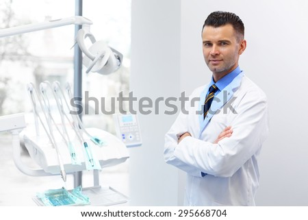 Dentist Doctor Portrait. Young Man at His Workplace. Dental Clinic - stock photo