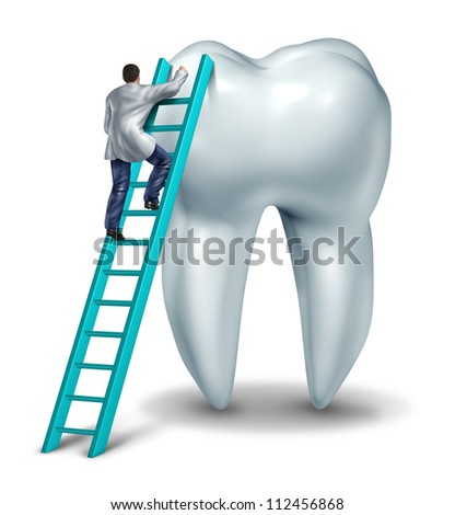 Dentist Health care and dental checkup medical concept with a doctor in uniform climbing a ladder performing an inspection and diagnosis of a healthy tooth on a white background. - stock photo