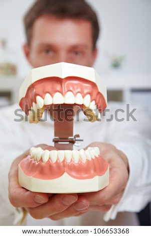 Dentist showing oversized open teeth model in his office - stock photo