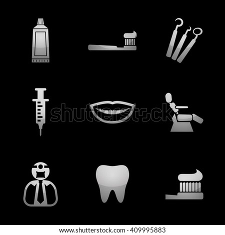 Dentist & Toothcare Icon Set with Silver Icons. Raster Version