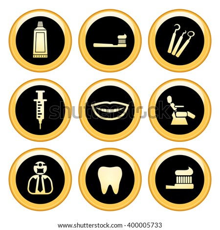 Dentist & Toothcare Icons Gold Icon Set. Raster Version