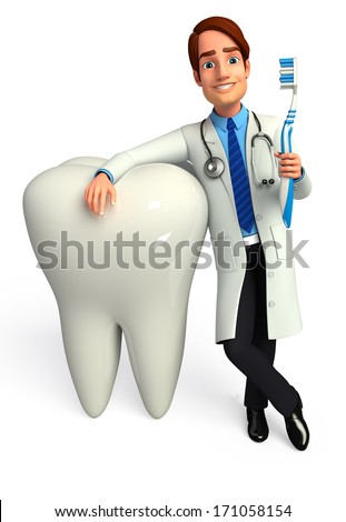 Dentist with teeth and toothbrush  - stock photo