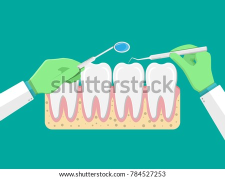 Dentist With Tools Examines Teeth Tooths Icon Gum Human In Flat Style