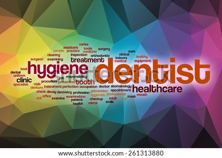 Dentist word cloud concept with abstract background - stock photo