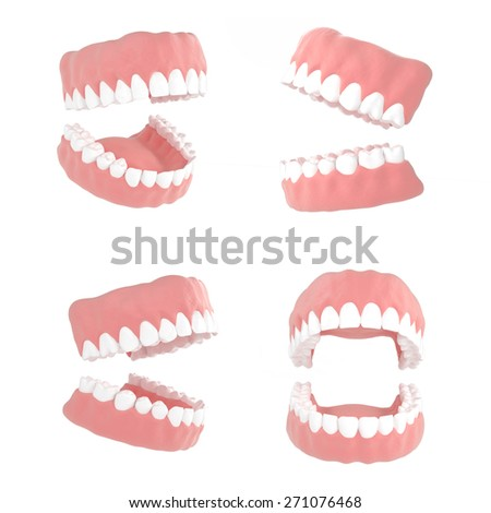 Dentistry illustrations 3d render on a white background - stock photo