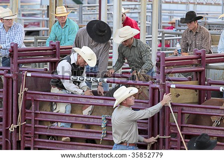 DENTON,TX - AUGUST 22 : Competitor gets ready at Denton Fairgrounds during North Texas State Fair August 22, 2009 in Denton, Texas. - stock photo