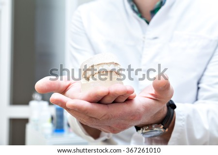 Denture in the hands of dentist. . - stock photo