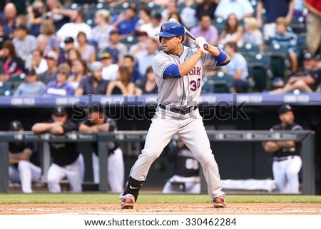 DENVER-AUG 21: New York Mets outfielder Michael Conforto waits for a pitch during a game against the Colorado Rockies at Coors Field on August 21, 2015 in Denver, Colorado. - stock photo