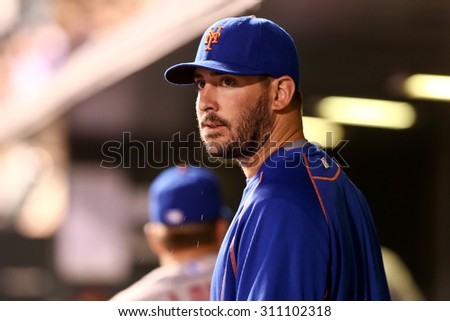 DENVER-AUG 21: New York Mets pitcher Matt Harvey in the dugout during a game against the Colorado Rockies at Coors Field on August 21, 2015 in Denver, Colorado. - stock photo