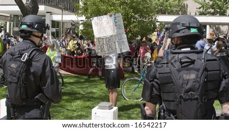 Denver - August 25: Democratic National Convention, Lone protester taunts police. - stock photo