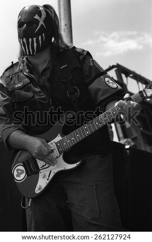 DENVER	AUGUST 22:		Guitarist Gravy of Mushroomhead performs in concert August 22, 2002 at the Pepsi Center in Denver, CO.