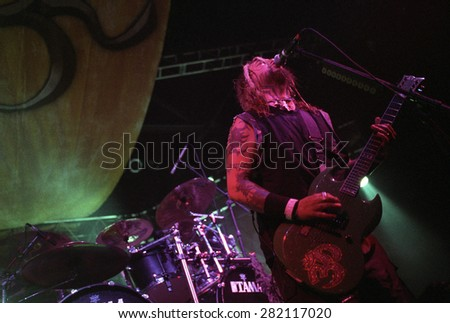 DENVER	AUGUST 8:		Max Cavalera performs August 8, 2001 at the Fillmore Auditorium in Denver, CO.    - stock photo