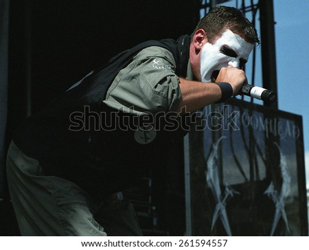 DENVER	AUGUST 22:		Vocalist J. Mann of  Mushroomhead performs in concert August 22, 2002 at the Pepsi Center in Denver, CO.