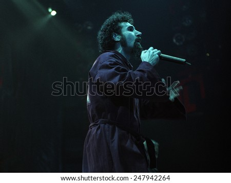 DENVER	AUGUST 22:		Vocalist Serj Tankian of the Heavy Metal band System of a Down performs in concert August 22, 2002 at the Pepsi Center in Denver, CO.