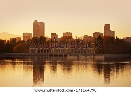 Denver City Park in Sunset. Denver, Colorado, USA. Lake Reflections. Downtown Denver. American Cities Collection. - stock photo