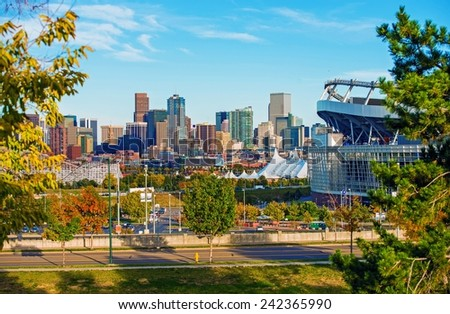 Denver Cityscape Colorado. Downtown Denver Skyline and the Mile High Stadium. Colorado, United States. - stock photo