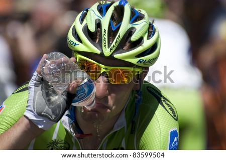 DENVER, CO - AUG 28:Italian pro cyclist Elia Viviani after the finish of the 2011 USA Pro Cycling Challenge in Denver, Colorado on Aug 28, 2011 - stock photo