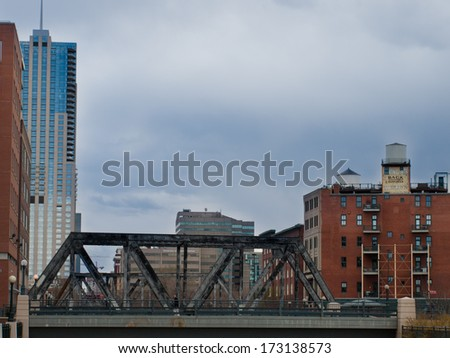 Denver, Colorado-April 9, 2011: Old railroad bridge in downtown Denver, Colorado.