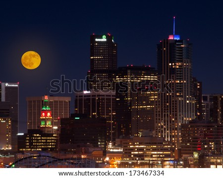 Denver, Colorado-December 10, 2011: A view of Denver, Colorado downtown with full moon.