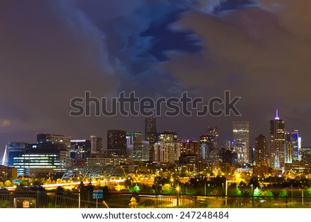 Denver Colorado downtown city skyline at night - stock photo