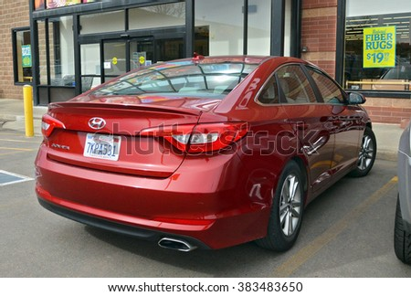 DENVER, COLORADO - FEBRUARY 27, 2016: Hyundai Sonata from California