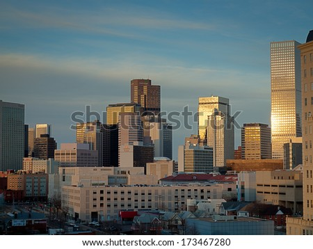 Denver, Colorado-January 31, 2012: Denver skyline at blue hour.