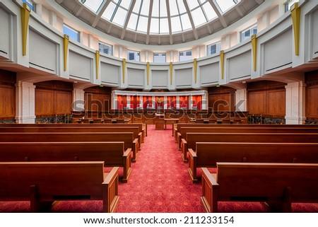 DENVER, COLORADO - JULY 24: Colorado Supreme Courtroom in the Ralph L. Carr Colorado Judicial Center July 24, 2014 in Denver, Colorado - stock photo