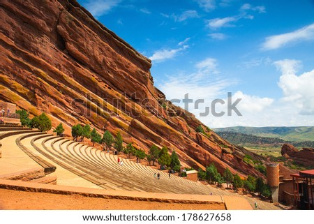 DENVER-COLORADO: July 21, 2012: Red Rocks Amphitheater.Famous Historic Red Rocks Amphitheater near Denver, Colorado, . - stock photo