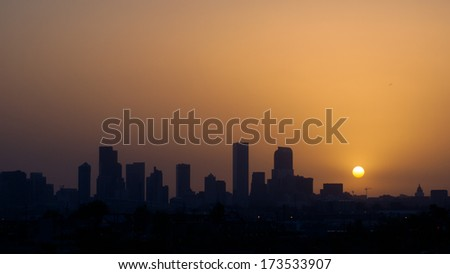 Denver, Colorado-May 27, 2012: Denver skyline at sunrise. Colorado.