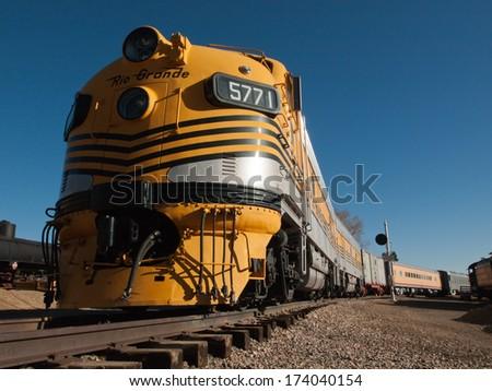Denver, Colorado-November 29, 2011: Denver and Rio Grande Western no. 5771 passenger train between denver and Salt lake City from 1971 to 1983. - stock photo