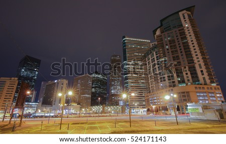 DENVER, COLORADO - November 27, 2016: Downtown In the Night
