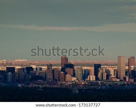 Denver, Colorado-October 11, 2011: A view of downtown  Denver right before sunset.