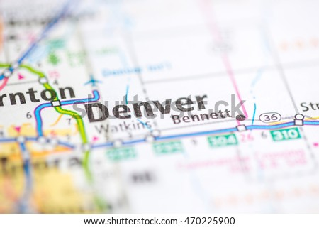 Denver Map Stock Images RoyaltyFree Images Vectors Shutterstock - Usa map denver colorado