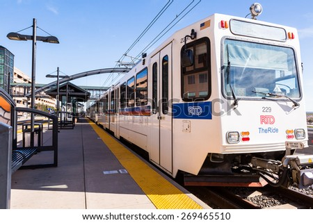 Denver, Colorado, USA-April 13, 2015. Lincoln lightrail station in Lone Tree, Colorado.