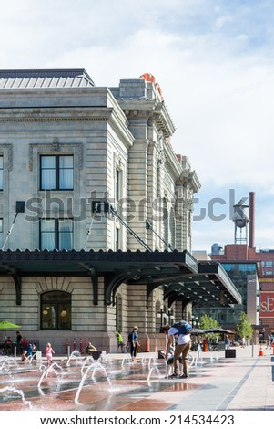 Denver, Colorado, USA-August 31, 2014. Urban plaza at front of redeveloped historical Union Station in Denver, Colorado.
