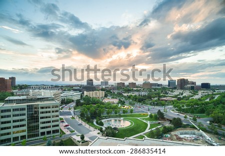 Denver, Colorado, USA-June 5, 2015. Aerial view of urban park in business park. - stock photo