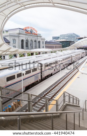 Denver, Colorado, USA-June 22, 2016.  Amtrack train ready for departure at the Denver Union Station.