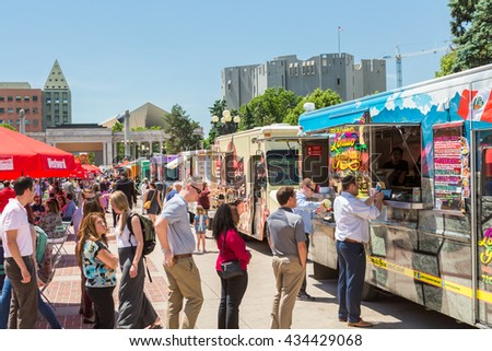 Denver, Colorado, USA-June 9, 2016. Food trucks at the Civic Center for Civic Center Eats event.