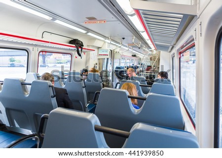 Denver, Colorado, USA-June 22, 2016.  Interior of the lightrail train travelling to the International Airport.