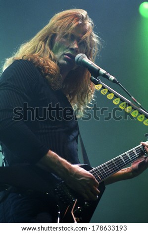 DENVER	DECEMBER 27:		Guitarist/Vocalist Dave Mustaine of the Heavy Metal band Megadeth performs DECEMBER 27, 1999 at The Fillmore in Denver, CO.