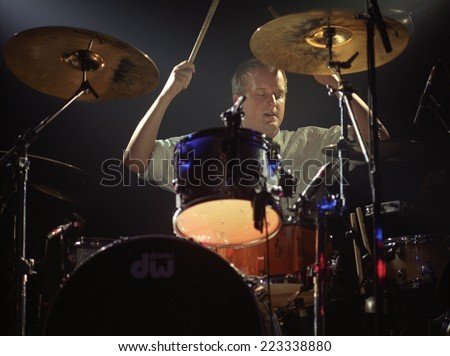 DENVERFEBRUARY 24:Drummer Greg Eklund of the band Everclear performs in concert February 24, 1998 at the Ogden Theater in Denver, CO. - stock photo