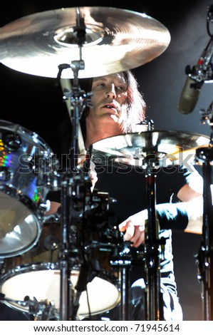 DENVER - FEBRUARY 19: Percussionist Sean Kinney, of Alice in Chains, performs live in concert on February 19, 2010 at the Fillmore Auditorium in Denver, CO.