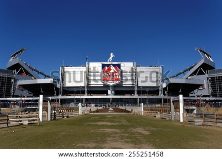 DENVER - FEBRUARY 9: Sports Authority Field at Mile High in Denver, Colorado on February 9, 2015. Sports Authority Field at Mile High is the home of the Denver Broncos of the NFL. - stock photo