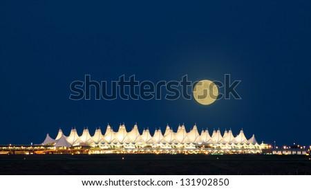 Denver International Airport  at night. - stock photo