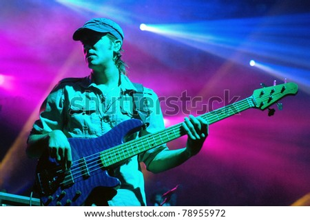 DENVER-JANUARY 23:	Bassist Ryan Stasik of the Alternative Jam Band Umphrey's McGee performs in concert January 23, 2010 at the Fillmore Auditorium in Denver, CO.